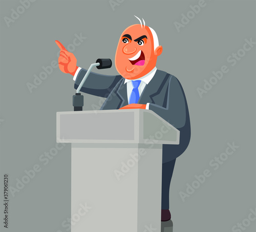 Politician Speaking on the Podium at the Microphone Canvas Print