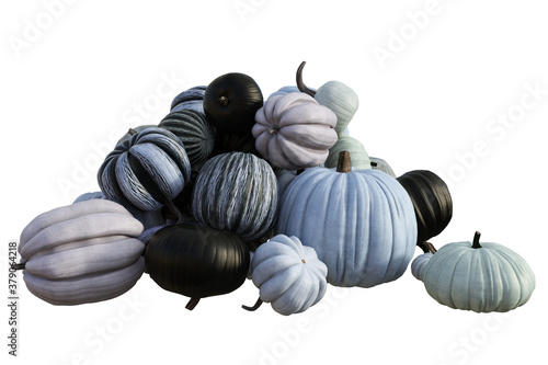 Pile of assorted pumpkins isolated on white, 3d render.