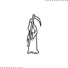 Grim Reaper, A Personification Of Death In The Form Of A Cloaked Skeleton Wielding A Large Scythe. The End Of Life Vector Icon In Outline