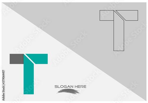 Valokuva vector illustration of folded lining blue color capital alphabet letter T logo d