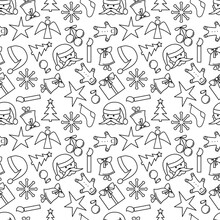 Christmas Seamless Vector Pattern. Black And White Outlines Of Christmas And New Year Symbols On A White Background . New Year Pattern For Packaging, Design, Scrabooking, Wallpaper, Fabric, Print