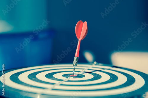 Tela Bulls eye or dart board has red dart arrow throw hitting the center of a shooting target for business targeting and winning goals business concepts