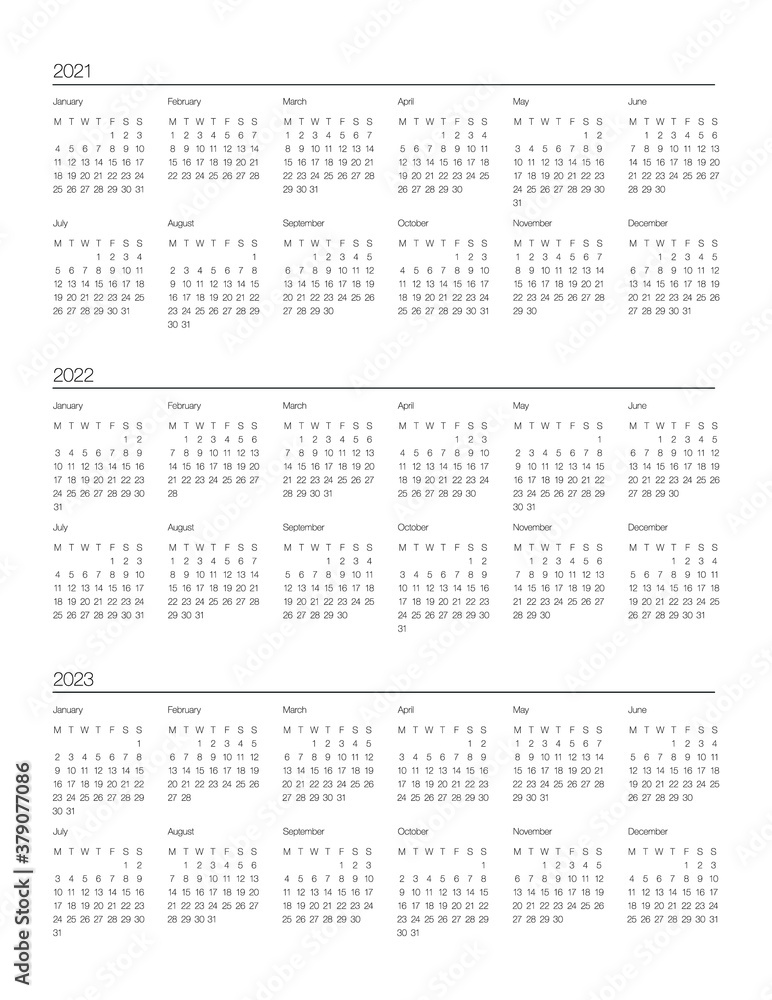 Gregorian Calendar 2022.Perfect Minimalist Calendar 2021 2022 And 2023 Years At Glance Week Starts At Monday European English Gregorian Calendar Planner And Bullet Journal Sticker Stationery Printable Vector Stock Gamesageddon