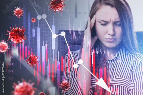 Stressed woman, coronavirus decline graph Canvas Print