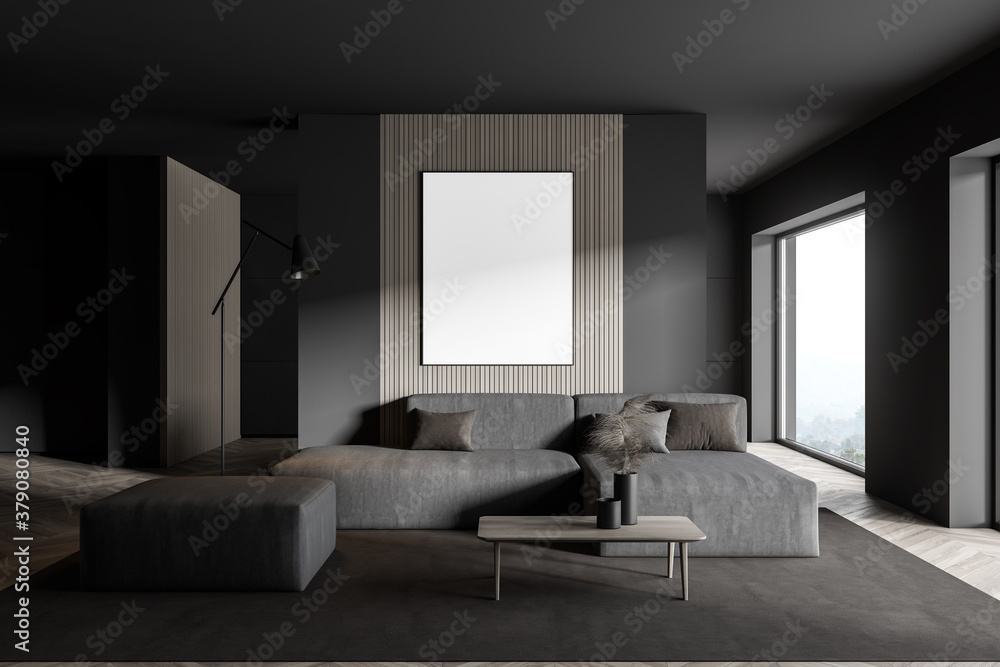 Fototapeta Gray living room with grey sofa and poster