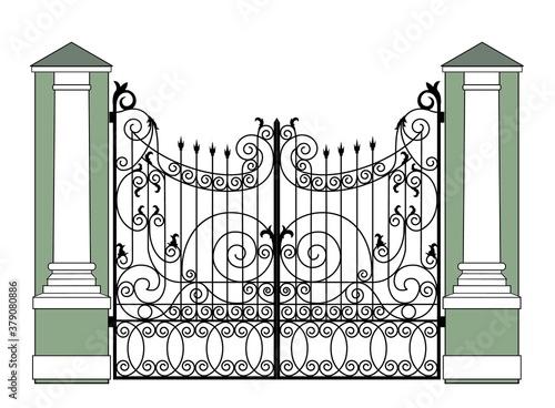 Photo black wrought iron gates