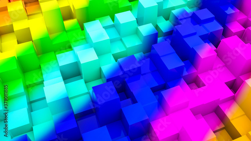 multicolored three-dimensional abstract background. 3d render illustration