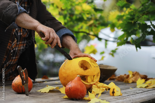 Fotografie, Tablou Autumn traditions and preparations for the holiday Halloween