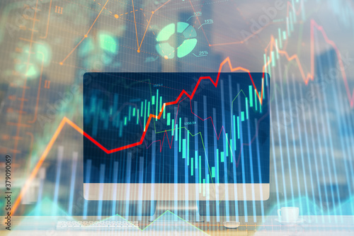 Fototapeta Forex market chart hologram and personal computer background. Double exposure. Concept of investment. obraz