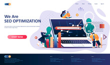 SEO Optimization Flat Landing Page Template. Internet Analytics, Online Research Software Web Banner. Website Content Optimization For Relevant Searches 3d Composition. Web Page Vector Illustration.