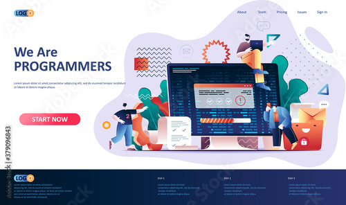 Photographie Programming software flat landing page template
