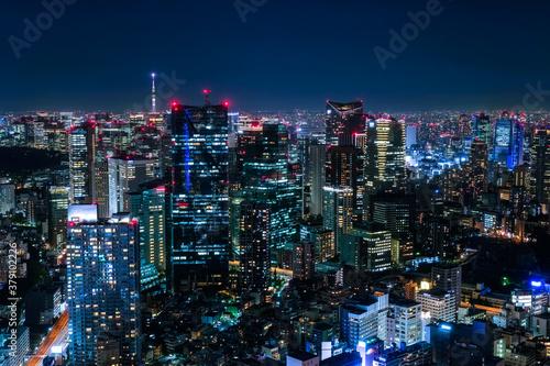 六本木ヒルズから眺める東京の夜景 六本木一丁目方面