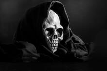 Plastic Human Skull On Black ...