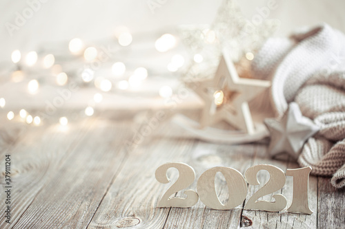 Photo New year 2021 holiday background with new year decor