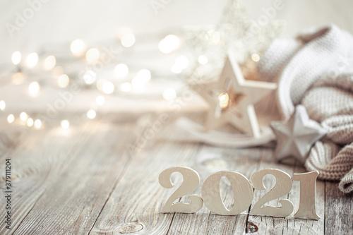 Fototapeta New year 2021 holiday background with new year decor