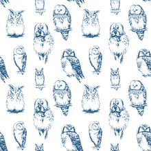Owls Seamless Pattern. Vector ...