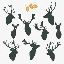 Deer Silhouette Busts Set