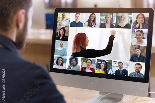 Online remote learning Wallpaper Mural