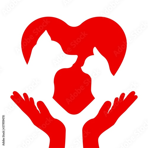 Fotomural Silhouettes of a cat and a dog on the heart in the hands of a man