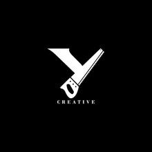 Saw Concept Y Letter Logo Design.