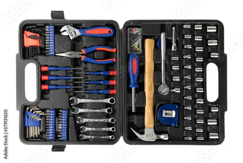 Set of tools in the case, suitcase or tool kit Wallpaper Mural