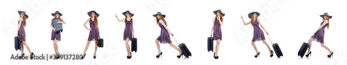 Fotografering Woman ready for summer holiday isolated on white