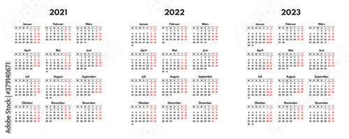 Fototapeta simple 2021 2022 2023 german calendar grid, starts monday, two weekend obraz