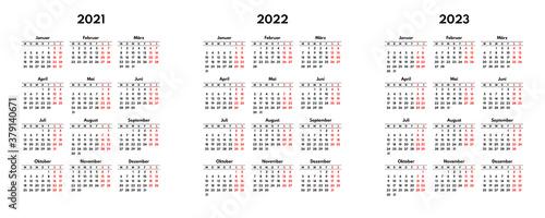 simple 2021 2022 2023 german calendar grid, starts monday, two weekend Canvas Print