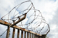 Closeup Shot Of Barbed Wire On...