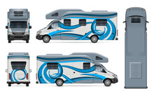 Recreational Vehicle Vector Wrap Mockup On White For Vehicle Branding, Corporate Identity. View From Side, Front, Back, Top. All Elements In The Groups On Separate Layers For Easy Editing And Recolor