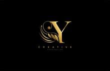 Initial Y Letter Luxury Beauty Flourishes Ornament Golden Monogram Logo