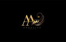 Initial AA Letter Luxury Beauty Flourishes Ornament Golden Monogram Logo