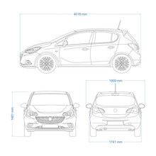 Mini Car Vector Template For Car Branding And Advertising. Car Set On White Background. View From Side, Front, And Back.