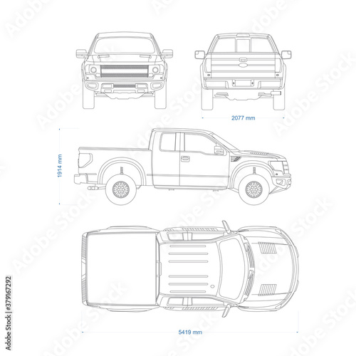 Платно Pickup truck vector template