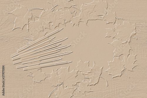 Valokuvatapetti Illustration with pencils and maple leaves on a wooden table with an embossing effect on an ivory plaster surface