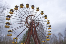 The Famous Ferris Wheel In An Abandoned Amusement Park In Pripyat. Cloudy Weather In The Chernobyl Exclusion Zone.