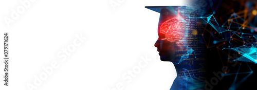 Fototapeta 3d rendering of virtual human silhouette on technology background illustration banner obraz
