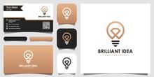 Creative Bulb Lamp And Diamond Logo And Business Card Design. Idea Creative Light Bulb Brilliant Logo.