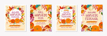 Bundle Of Autumn Farmers Market Banners With Pumpkins,mushrooms,eggplant,apple,zucchini,tomatoes,corn,beet,berries And Floral Elements.Local Food Fest Design.Agricultural Fair.Harvest Season.