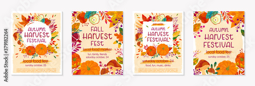 Bundle of autumn farmers market banners with pumpkins,mushrooms,eggplant,apple,zucchini,tomatoes,corn,beet,berries and floral elements Fotobehang