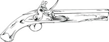 A Big Revolver With A Handle, A Fighting Weapon, From The Wild West, Hand-drawn In Ink