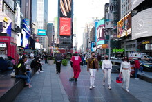 Sept 19, 2020 People Start Going Back To Times Square After The Re-opening From The Lockdown From Covid-19 With Masks, New York City, USA.