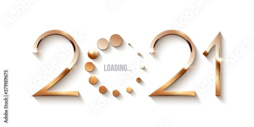 Fototapeta Happy 2021 new year loading concept. Gold icon of number showing progress with dots. Holiday decoration or invitation card vector illustration. Shiny modern sign downloading obraz