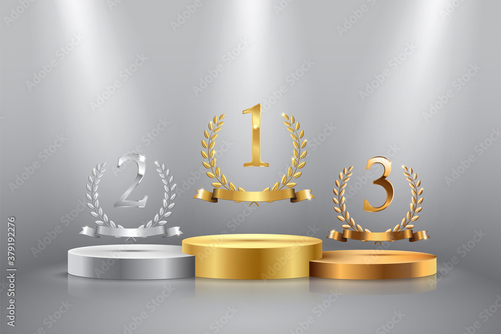 Fototapeta Winner background with golden, silver and bronze laurel wreaths with ribbons and first, second and third place signs on round pedestal isolated on gray. Vector winner podium sports symbols.
