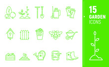 Modern Garden Contour Icons. Polygonal Icons. Icons In Flat Style.