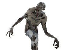 Zombie Monster Isolated On Whi...