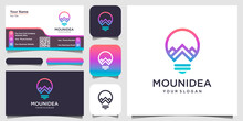 Creative Bulb Lamp Combined With Mountain. Logo And Business Card Design .