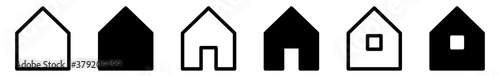 Fotomural House Icon Black | Home Illustration | Real Estate Symbol | Building Logo | Tiny