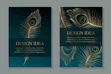 Modern Luxury Wedding Invitation Design Or Card Templates For Birthday Greeting Or Certificate Or Poster With Golden Peacock Feathers On A Turquoise Green Background.