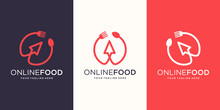 Food Online Logo Designs Template. Symbol Spoon And Fork Combined With Cursor Arrow.